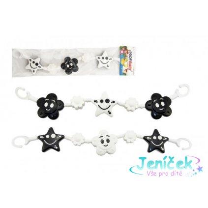 Řetěz/zábrana kytička,hvězdička plast 45cm černobílá v sáčku 0+
