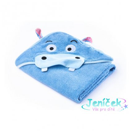 Dětská osuška Sensillo Water Friends 100x100 cm blue hippo