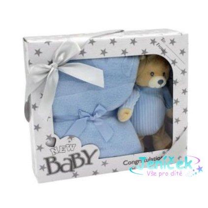 Tulilo Dětská sada deka + plyšová hračka Méďa Teddy - modrá