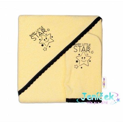 Dětská osuška s kapucí + žínka Baby Little Star, Baby Nellys, roz. 80 x 80 cm - žlutá