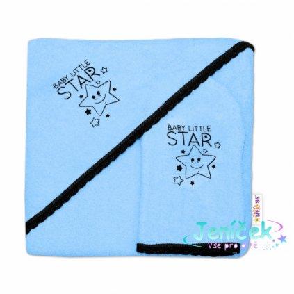 Dětská osuška s kapucí + žínka Baby Little Star, Baby Nellys, roz. 80 x 80 cm - modrá