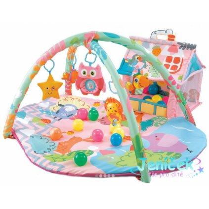 Cangaroo Dětská hrací podložka Happy Farm, růžová