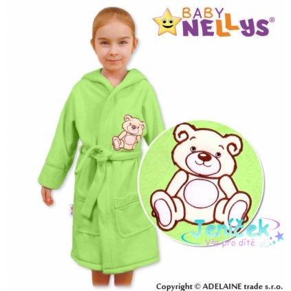 Baby Nellys Dětský župan - Medvídek Teddy Bear, 98/104 - zelený