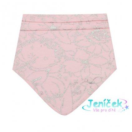 Kojenecký bavlněný šátek na krk New Baby NUNU růžový S