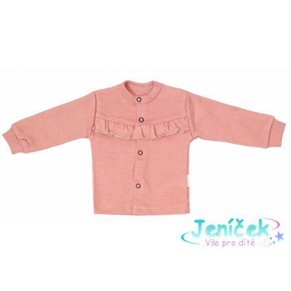 Mamatti Novorozenecká bavlněná košilka, kabátek, New minnie - pudrová, vel. 68