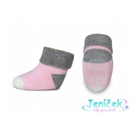 Kojenecké froté ponožky, Risocks protiskluzové - šedá/růžová/bílá