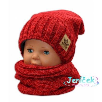 BABY NELLYS Podzimní/zimní čepice s komínkem - červená melír