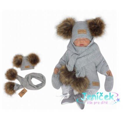Z&Z Zimní čepice s bambulemi z kožešinky a šálou 2V1, šedá v