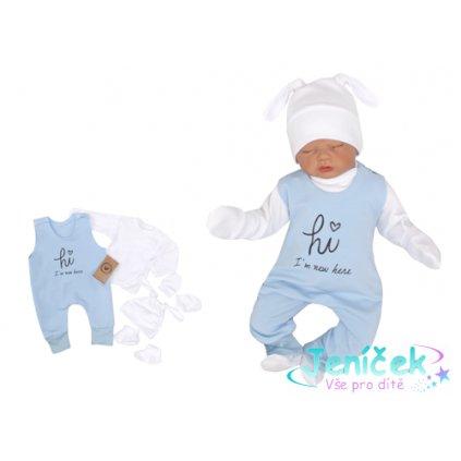 Z&Z 5-dílná kojenecká soupravička Hi I´m new here - modrá v
