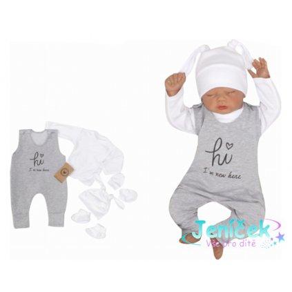 Z&Z 5-dílná kojenecká soupravička Hi I´m new here - šedá, v