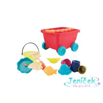 Vozík s hračkami na písek červený