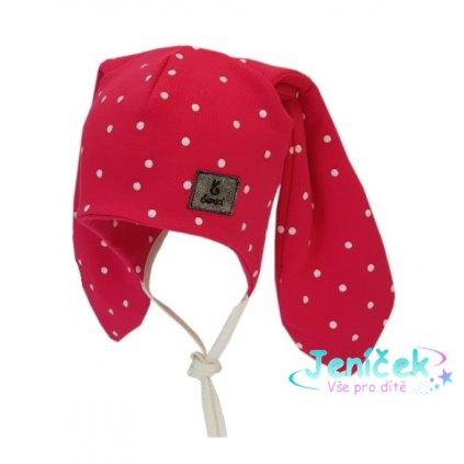 Bexa Bavlněná dvouvrstvá čepice na zavazování Dots - malinová