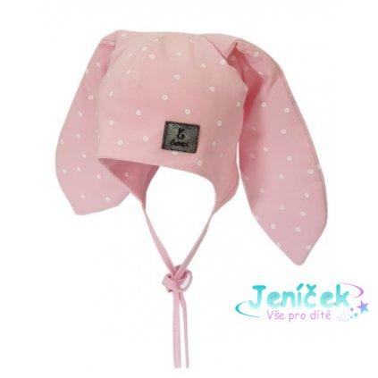 Bexa Bavlněná dvouvrstvá čepice na zavazování Dots - růžová