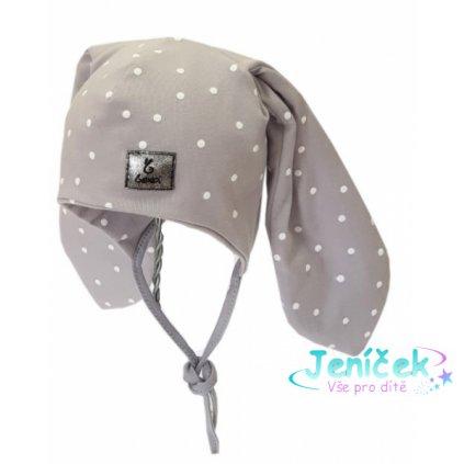 Bexa Bavlněná dvouvrstvá čepice na zavazování Dots - šedá