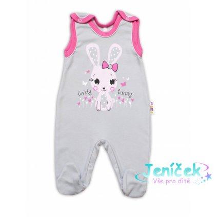 Baby Nellys bavlněné dupačky Lovely Bunny - šedé/růžové