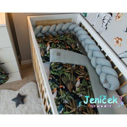 Baby Nellys 2-dílná sada do postýlky Vafel, bavlna LUX, Papoušek, 135 x 100 cm