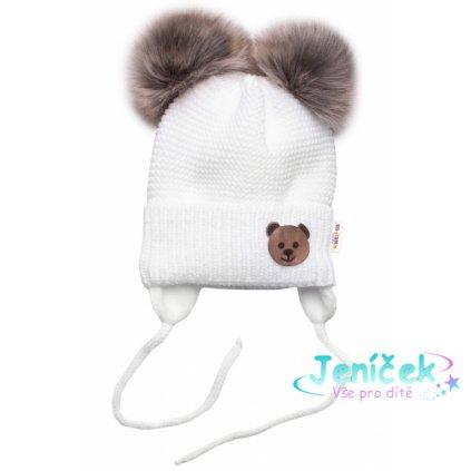 BABY NELLYS Zimní čepice s fleecem Teddy Bear - chlupáčk. bambulky - bílá, šedá