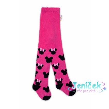 Baby Nellys Dětské punčocháče bavlněné, Minnie Mouse - malinové