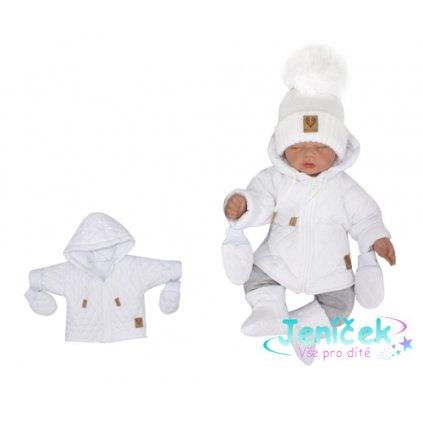 Z&Z Zimní prošívaná bundička s kapucí + rukavičky - bílá