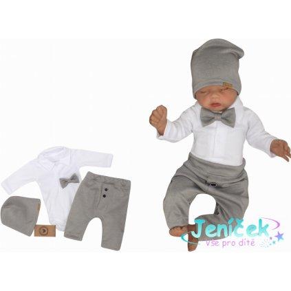 Z&Z 4-dílná sada Elegant Boy, body, kalhoty, motýlek a čepice, šedá/bílá v