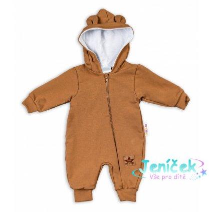 Baby Nellys Teplákový overal s kapucí Teddy - karamelový, vel. 62