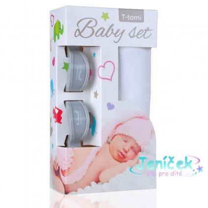 Baby set - bambusová osuška white / bílá + kočárkový kolíček grey / šedá