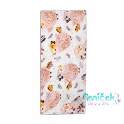 Baby Nellys Kvalitní bavlněná plenka - Tetra Premium, 70x80cm - Ptáčci, bílá/hnědá