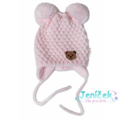 BABY NELLYS Zimní pletená čepice Teddy Bear na zavazování, růžová v