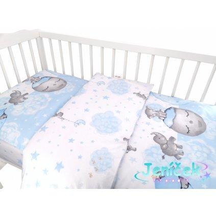 Baby Nellys 2-dílné bavlněné povlečení, Baby Elephant - modrý
