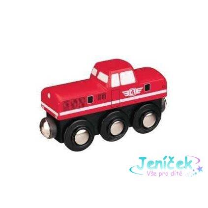 Maxim Dřevěná dieselová lokomotiva červená