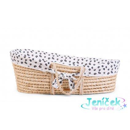 Košík pro miminko Natural + matrace + potah Jersey Leopard