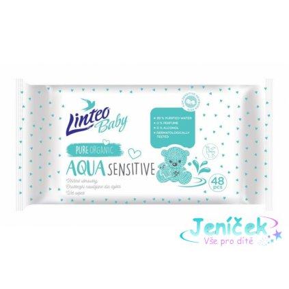 Vlhčené ubrousky LINTEO BABY Aqua sensitive, 48 ks v balení
