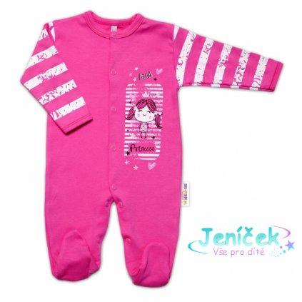 Baby Nellys Bavlněný kojenecký overal Sweet Little Princess, růžový