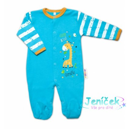 Baby Nellys Bavlněný kojenecký overal Giraffe, tyrkysový