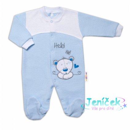 Baby Nellys Kojenecký overal froté, Medvídek Hello, modrý