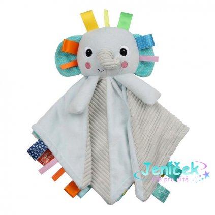 BRIGHT STARTS Mazlící dečka s hlavou Cuddle'n Tags slon 0 m+