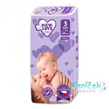 Dětské jednorázové pleny New Love Premium comfort 3 MIDI 4-9 kg 48 ks V