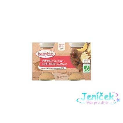 BABYBIO Jablko s kaštanovým pyré (2x 130 g) - ovocný příkrm V