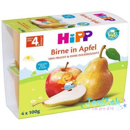 HiPP BIO Jablka s hruškami (4x100 g) - ovocný příkrm V