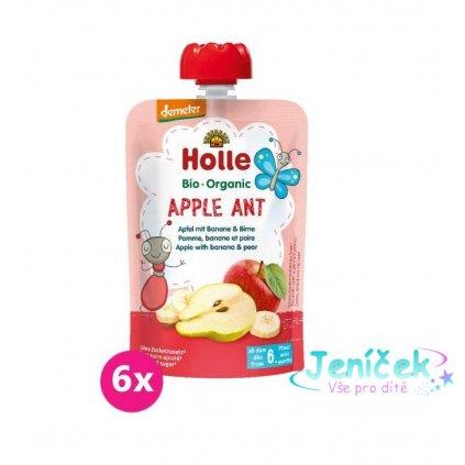 6x HOLLE Apple Ant Bio pyré jablko banán vanilkaa 100 g (6+) V