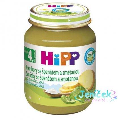 HiPP BIO Špenát se zeleninou a brambory 125 g – zeleninový příkrm