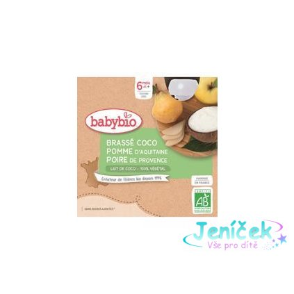 BABYBIO Svačinka s kokosovým mlékem - jablko a hruška (4x 85 g)