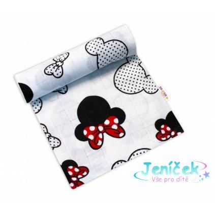 Baby Nellys Kvalitní bavlněná plenka - Tetra Premium, 70x80cm - myška Minnie, bílá VYP