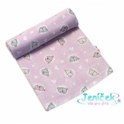 Baby Nellys Kvalitní bavlněná plenka - Tetra Premium, 70x80cm - Medvídek, růžová VYP