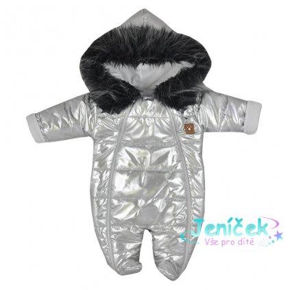 Zimní kojenecká kombinéza s kapucí Koala Lara stříbrná 80 VYP