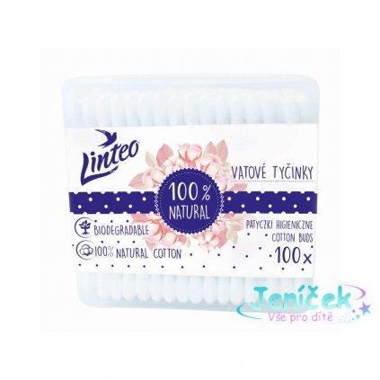 Papírové vatové tyčinky 100% natural Linteo 100 ks v boxu VYP
