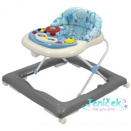 Dětské chodítko Baby Mix s volantem a silikonovými kolečky šedé krémové V