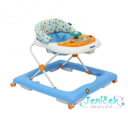 Dětské chodítko Baby Mix s volantem a silikonovými kolečky modro-bílé V