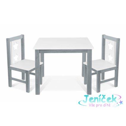 BABY NELLYS Dětský nábytek - 3 ks, stůl s židličkami - šedá, bílá, C/05 VYP