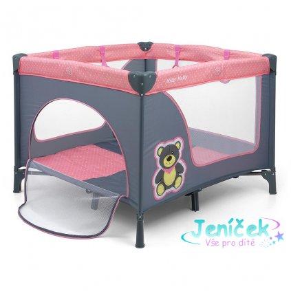 Dětská skládací ohrádka Milly Mally Fun Pink Bear VYP